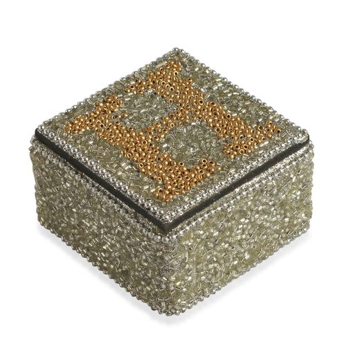HOPE - Set of 4 - Handcrafted Silver and Golden Beads Embellished Hope Bling Box (Size 6.5X6.5X4 Cm)
