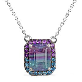 1.28 Ct Multi Fluorite, Amethyst and London Blue Topaz Halo Pendant in Platinum Plated Silver