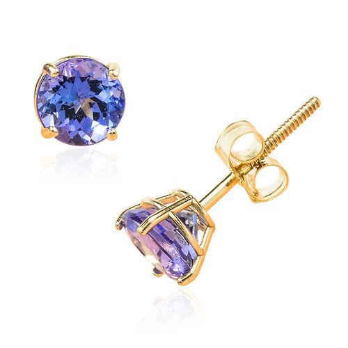 14K Y Gold Tanzanite (Rnd) Stud Earrings 1.102 Ct.