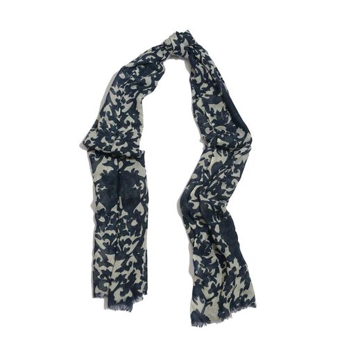 50% Cotton and 50% Wool Dark and Light Blue Colour Woven Flower and Leaf Pattern Scarf (Size 175x75 Cm)
