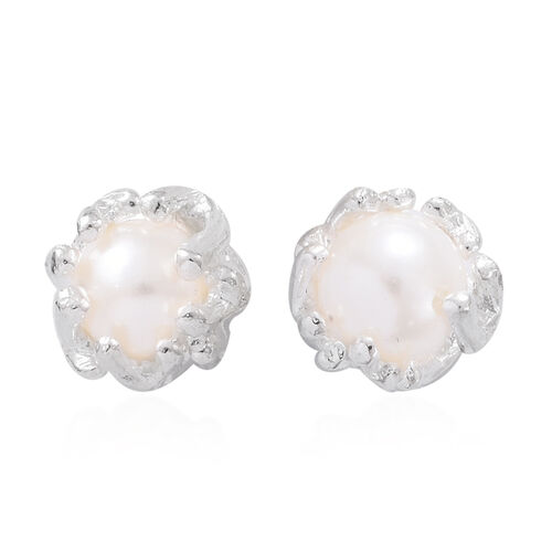 Fresh Water Pearl (Rnd) Earrings (with Push Back) in Sterling Silver