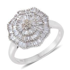 Designer Inspired Ballerina Diamond Ring in Platinum Overlay Sterling Silver 1.150 Ct. Number of Diamonds 102