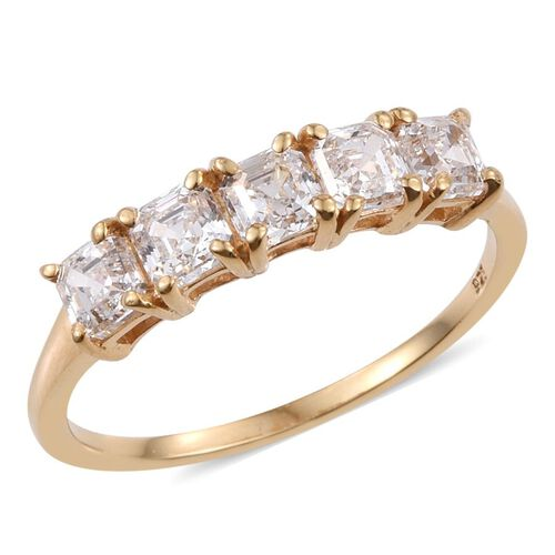 J Francis - 14K Gold Overlay Sterling Silver (Asscher Cut) 5 Stone Ring Made with SWAROVSKI ZIRCONIA