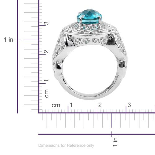Capri Blue Triplet Quartz (Ovl) Solitaire Ring in ION Plated Platinum Bond 3.000 Ct.