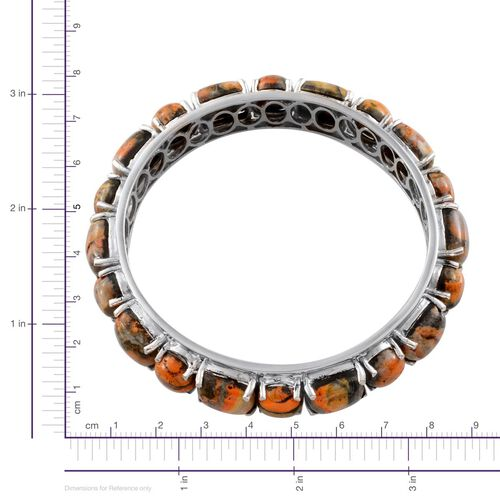 Bumble Bee Jasper (Cush) Bangle (Size 7) in Platinum Overlay Sterling Silver 68.500 Ct.
