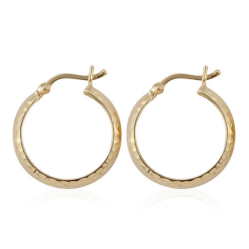Royal Bali Collection 9K Yellow Gold Diamond Cut Hoop Earrings (with Clasp)