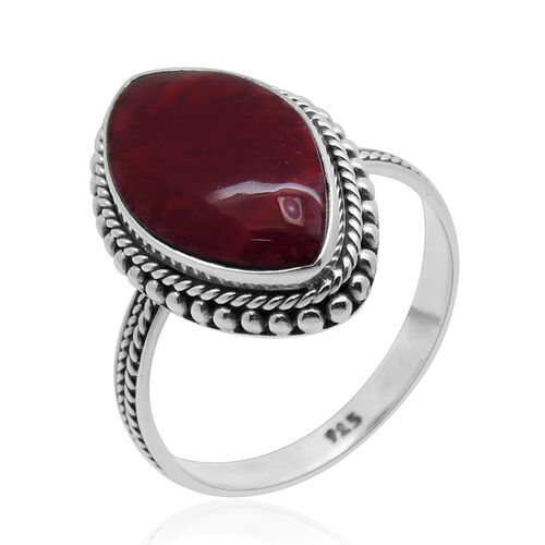 Royal Bali Collection Sponge Coral (Mrq) Ring in Sterling Silver 15.800 Ct.