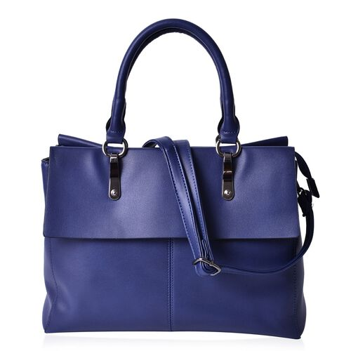 Navy Colour Tote Bag With Adjustable and Removable Shoulder Strap (Size 33.5x27x13.5 Cm)
