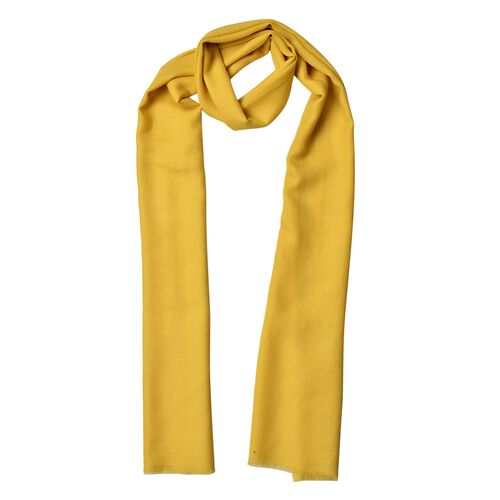 Super Soft-100% Wool Yellow Colour Scarf with Fringes (Size 190X70 Cm)