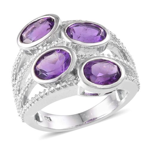 Amethyst (Ovl), Diamond Ring in Platinum Overlay Sterling Silver 4.410 Ct.