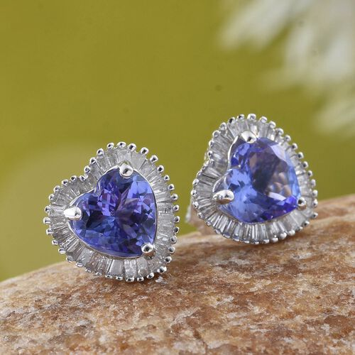 Valentine Special- Designer Inspired- 9K W Gold Tanzanite (Hrt), Diamond ( G to H ) Stud Earrings (with Push Back) 2.750 Ct.
