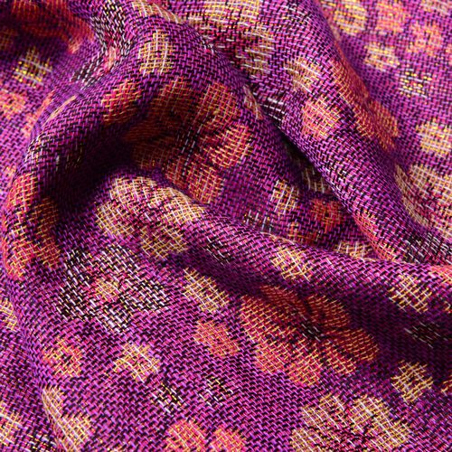 Yellow, Orange and Black Colour Small Plum Blossom Pattern Dark Pink and Purple Colour Scarf with Fringes (Size 170x70 Cm)
