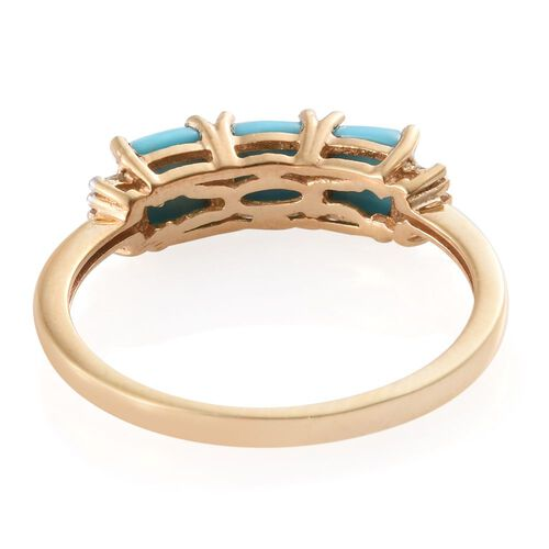 Arizona Sleeping Beauty Turquoise (Cush), Diamond Ring in 14K Gold Overlay Sterling Silver 1.550 Ct.