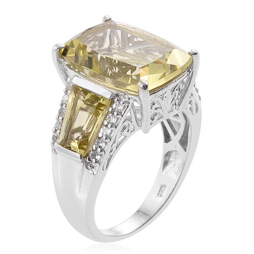 Natural Green Gold Quartz (Cush 9.90 Ct), White Topaz Ring in Platinum Overlay Sterling Silver 12.750 Ct.