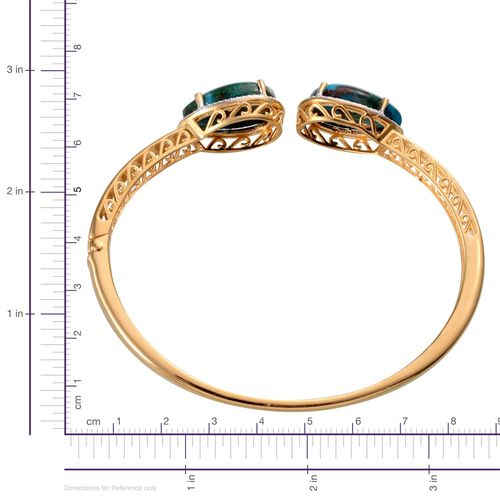 Table Mountain Shadowkite (Pear), Diamond Bangle in 14K Gold Overlay Sterling Silver (Size 7.5) 21.030 Ct.