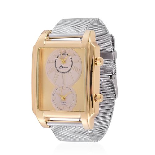 GENOA Japanese Movement Golden Dial Water Resistant Watch in Gold Tone with Stainless Steel Back and Chain Strap