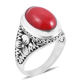 Royal Bali Collection Coral (Ovl 16x12 mm) Ring in Sterling Silver 12.000 Ct. Silver wt 5.30 Gms.
