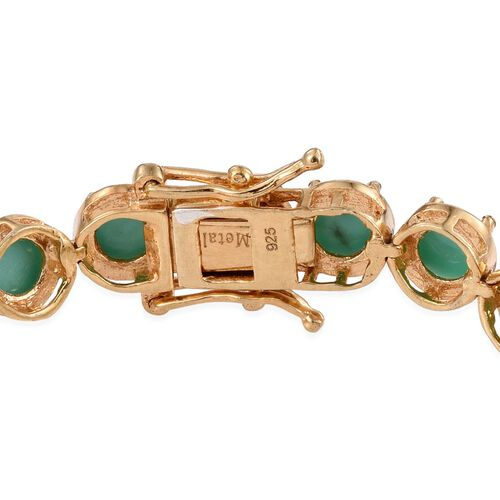 Sonoran Turquoise (Rnd) Bracelet (Size 7.5) in 14K Gold Overlay Sterling Silver 13.500 Ct.