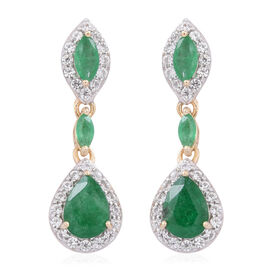9K Y Gold AAA Kagem Zambian Emerald (Pear), White Zircon Tear Drop Earrings (with Push Back) 2.250 Ct.