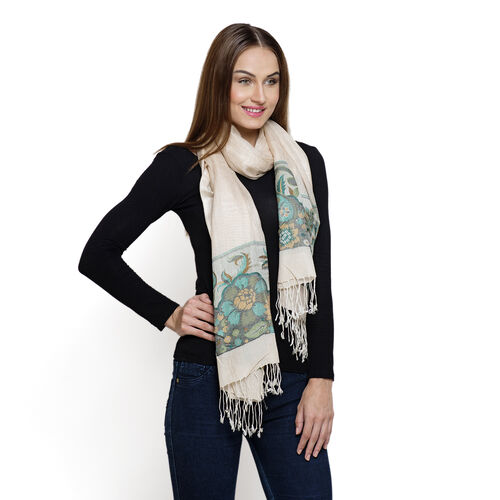 100% Superfine Modal Cream and Multi Colour Paisley Pattern Jacquard Scarf (Size 190x70 Cm)