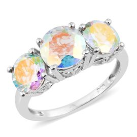 Mercury Mystic Topaz (Rnd 2.40 Ct) 3 Stone Ring in Platinum Overlay Sterling Silver 5.250 Ct.
