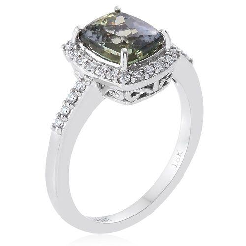 ILIANA Rare 2.63 Ct AAA Green Tanzanite and Diamond IGI Certified (SI G-H) Ring in 18K White Gold
