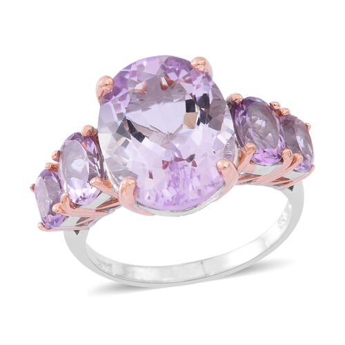 Rose De France Amethyst (Ovl 8.45 Ct) 5 Stone Ring in Rhodium Plated and Rose Gold Overlay Sterling Silver 10.750 Ct.