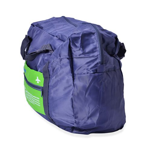 Set of 2 - Green and Blue Colour Foldable Waterproof Travel Bag and Storage Bag (Size 42x35x17 Cm and 26.5x16x9.5 Cm)