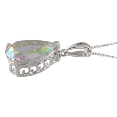 Mercury Mystic Topaz (Pear) Solitaire Pendant With Chain in Platinum Overlay Sterling Silver 5.750 Ct.