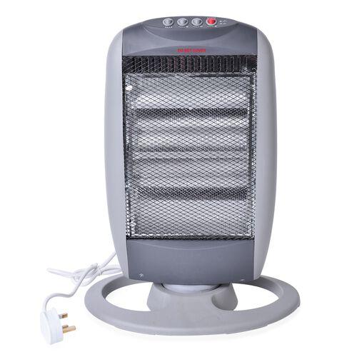 Grey Portable Halogen 3 tube Electric Oscillating Heater 1200W (Size 50 X28 X10 Cm)