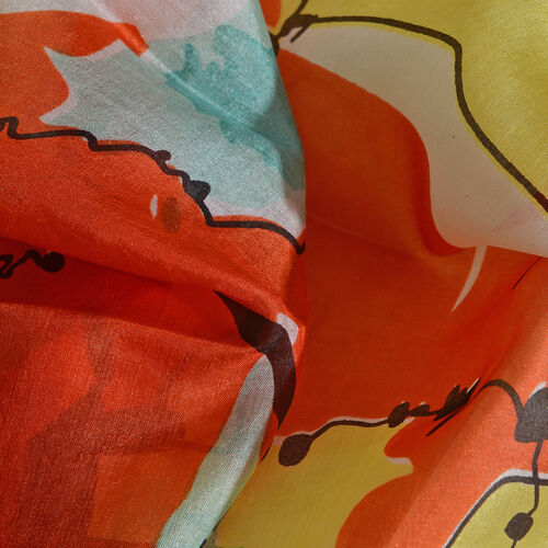 100% Mulberry Silk Orange, Yellow, Green and Multi Colour Hand Screen Floral Printed Scarf (Size 180x100 Cm)