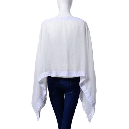 White Colour Poncho with Lace Pattern at the Border (Size 100x75 Cm)