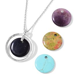 Amethyst, Blue Sandstone, Unakite and Blue Howlite Pendant With Chain (Size 24) with Interchangeable Charms in Stainless Steel 120.000 Ct.