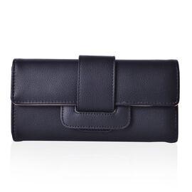 Classic Black Colour 3 Fold Long Wallet with Buckle Flap (Size 19.5x10x2.5 Cm)