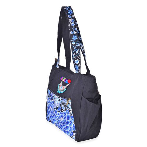 Designer Inspired-Black, Blue and Multi Colour Floral Embroidered Tote Bag with Metallic Charm (Size 30.5X27X10 Cm)