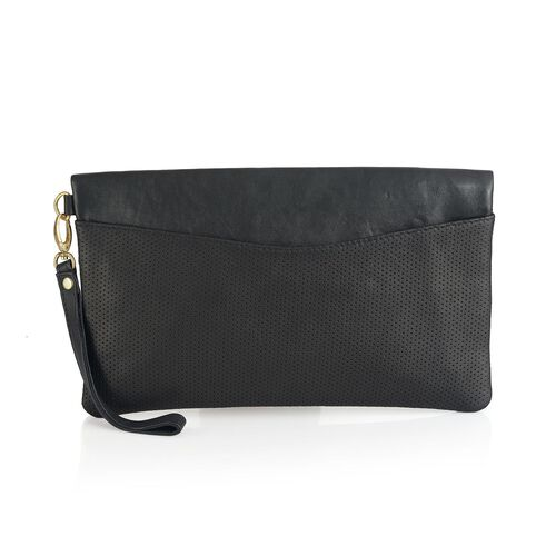 Genuine Leather Black Colour Handbag with Perforated Bottom Part (Size 30x18 Cm)