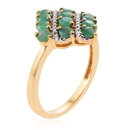 Brazilian Emerald (Rnd) Ring in 14K Gold Overlay Sterling Silver 1.250 Ct.