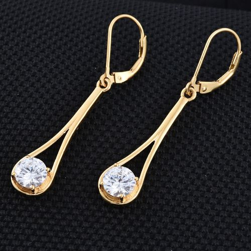 J Francis - 14K Gold Overlay Sterling Silver (Rnd) Lever Back Earrings Made with SWAROVSKI ZIRCONIA