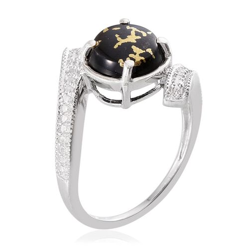 Goldenite (Rnd) Solitaire Ring in Platinum Overlay Sterling Silver 1.750 Ct.