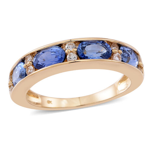 9K Y Gold AAA Ceylon Sapphire (Ovl), White Sapphire Ring 2.500 Ct.