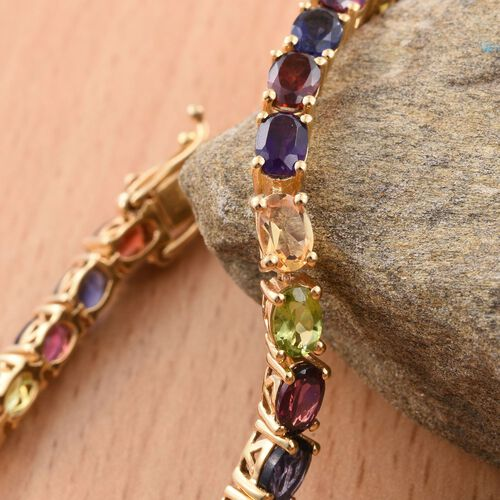 Colours of Life Collection - Rhodolite Garnet (Ovl), Mozambique Garnet, Iolite, Hebei Peridot, Amethyst and Citrine Bracelet (Size 8) in 14K Gold Overlay Sterling Silver 14.500 Ct.