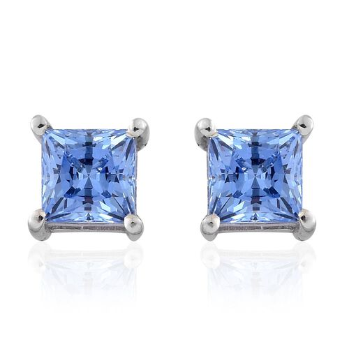 J Francis - Platinum Overlay Sterling Silver (Princess Cut) Stud Earrings (with Push Back) Made with Blue SWAROVSKI ZIRCONIA