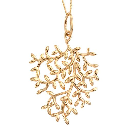 14K Gold Overlay Sterling Silver Olive Leaves Pendant With Chain, Silver wt 6.07 Gms.