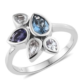Santa Maria Aquamarine (Pear), White Topaz and Iolite Ring in Platinum Overlay Sterling Silver 1.250 Ct.