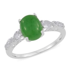 Green Jade (Ovl 3.20 Ct), White Topaz Ring in Sterling Silver 3.750 Ct.