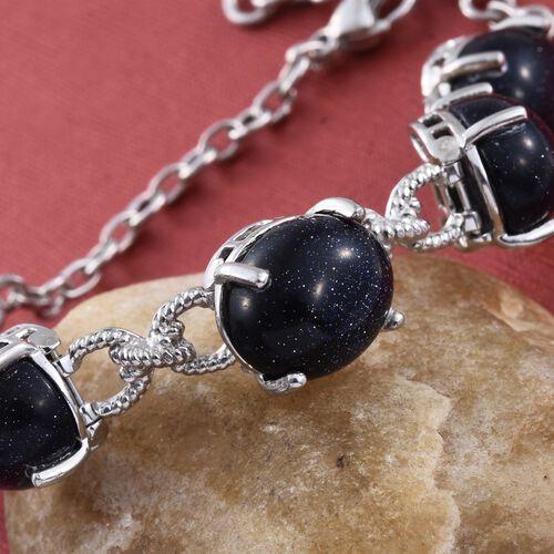 Blue Sandstone (Ovl) Bracelet (Size 7.5) in ION Plated Platinum Bond 30.000 Ct.