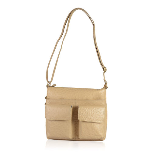 100% Genuine Leather RFID Blocker Ostrich Embossed Cream Colour Sling Bag with External Pockets and Adjustable Shoulder Strap (Size 31X27.5X5 Cm)