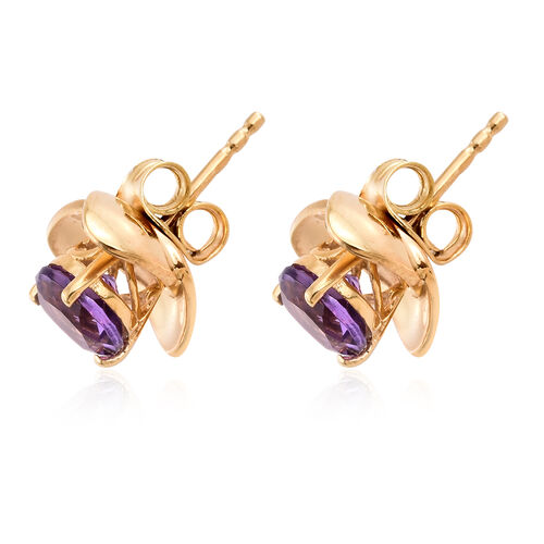 Amethyst 1.50 Ct Sterling Silver Stud Earrings (with Push Back) in 14K Gold Overlay