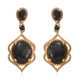 Arizona Mojave Black Turquoise (Ovl), Boi Ploi Black Spinel Earrings (with Push Back) in 14K Gold Overlay Sterling Silver 7.000 Ct.