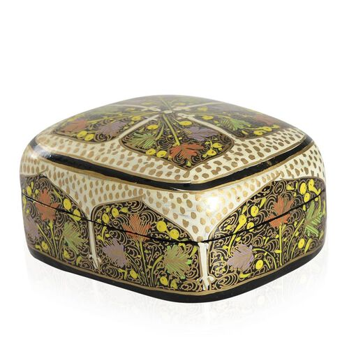 Home Decor - Multi Colour Printed Cream Colour Handmade Paper Mache Box